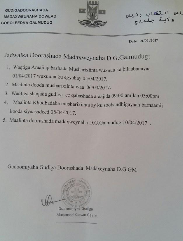 AKHRISO-Jadwalka Doorashada Maamulka Galmudug.