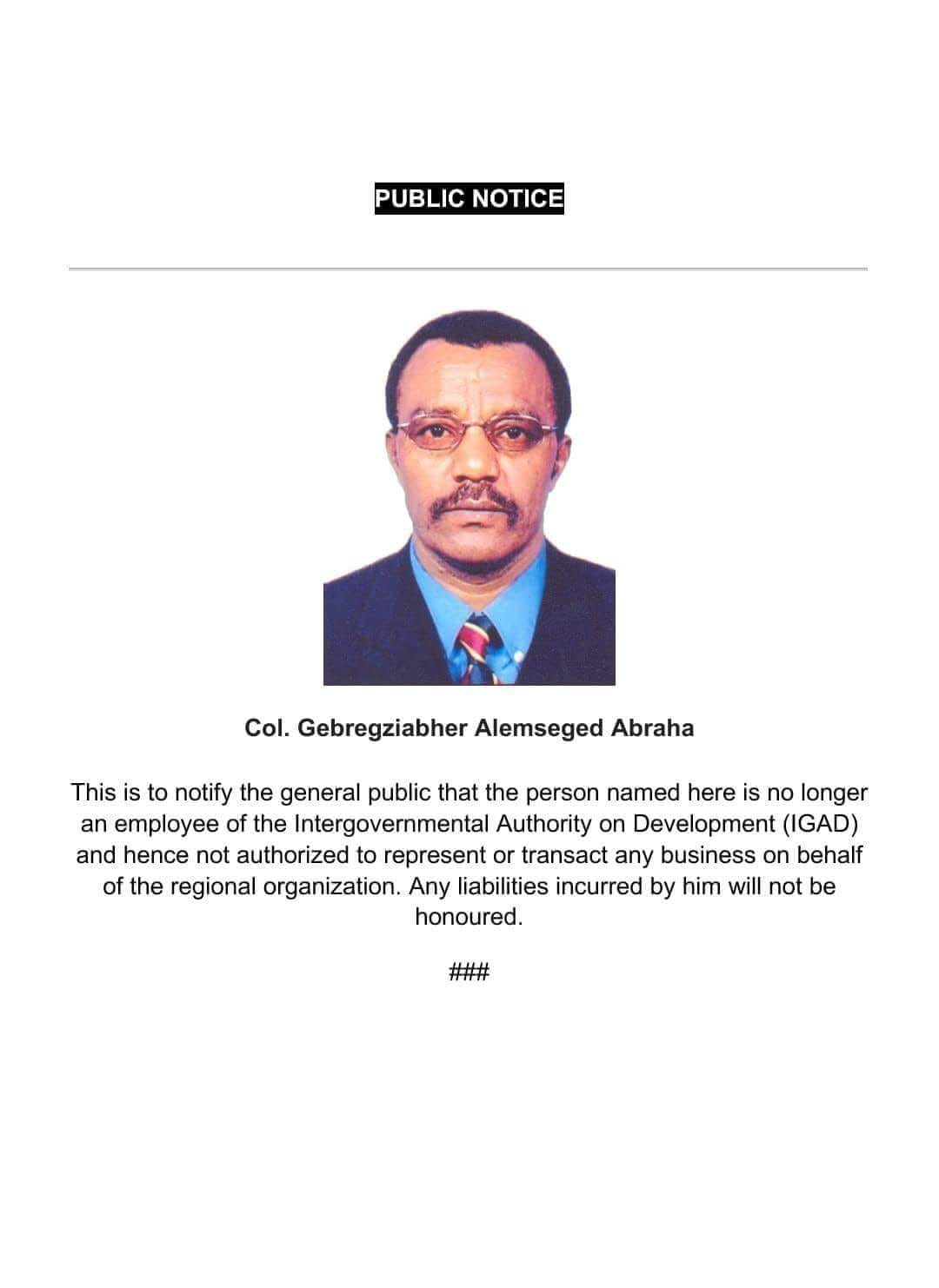 Somalia: Col. Gebre of Ethiopian Intelligence Service Terminated and PUBLIC NOTICE Issued