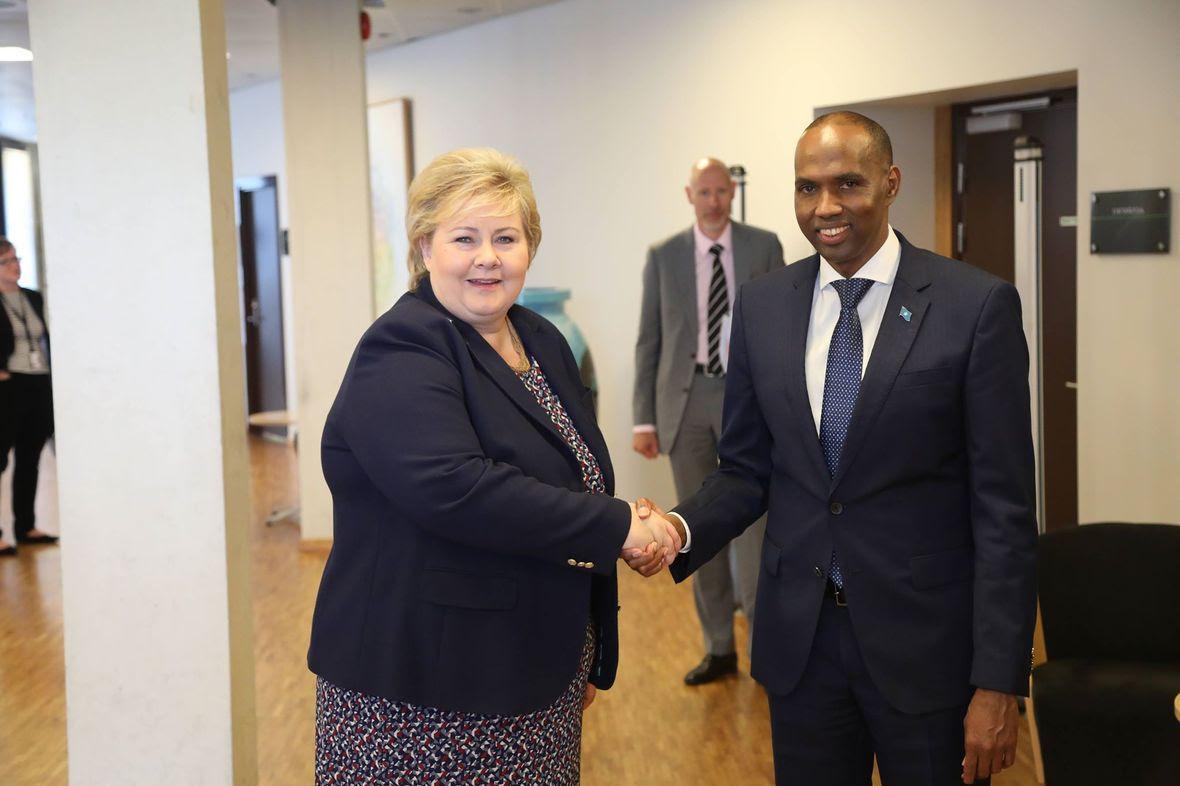 Ra'iisul Wasaare Khayre oo la kulmay Ra'iisul Wasaaraha Norway, Erna Solberg