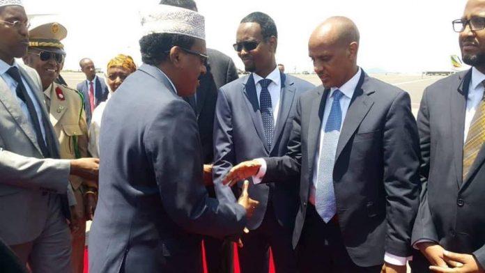 Madaxweyne Farmaajo oo Madaxweyne Cagjar uu Addis Ababa ku soodhaweeyey (dhegayso)