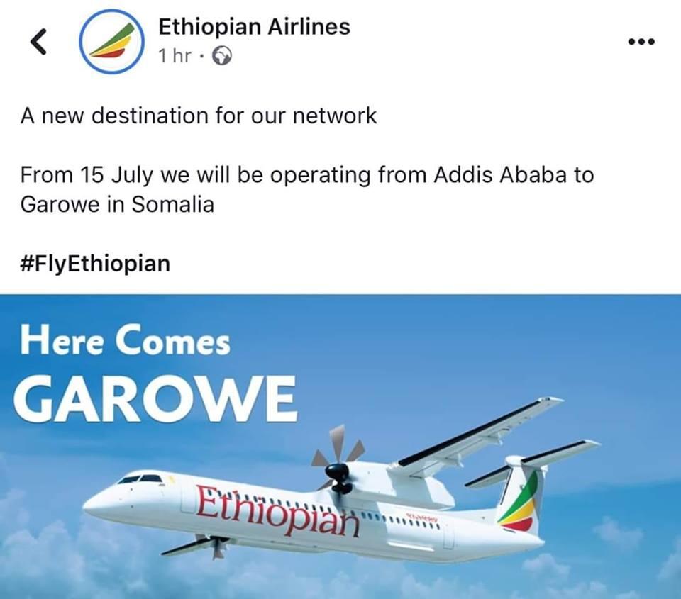 Shirkadda Diyaaradaha  Ethiopian Airlines oo Puntland dulimaadyo ka bilaabaysa (Daawo)